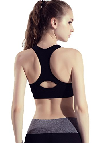 Ailin home- Fitness Sports de plein air Zipper Bra Women Sous-vêtements anti-choc à séchage rapide Noir