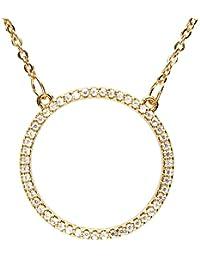 MYA art Damen Kette Halskette Gold Vergoldet Kreis Ring Offen Anhänger mit  Strass Zirkonia Steinen Minimalistisch 2626924cf1