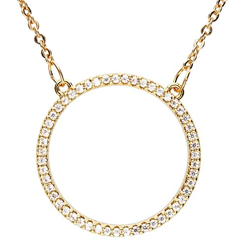 MYA art Damen Kette Halskette Gold Vergoldet Kreis Ring Offen Anhänger mit Strass Zirkonia Steinen Minimalistisch MYAGOKET-18