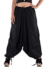 Indi Bargain Womens Cotton Afghani Trouser (312Black_Black_Free Size)