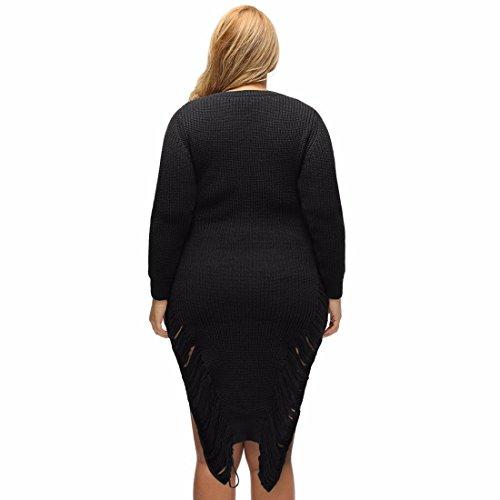 Pull Ras Du Cou Homme Begger Style Midi Side Split Tricot Chandail Robe Dress Prom Noir