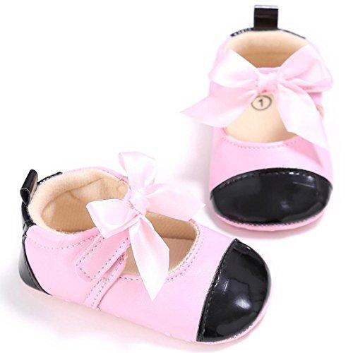Saingace Krabbelschuhe,Kleinkind-Mädchen-Krippe-Schuhe Neugeborene Bowknot-weiche alleinige Anti-Rutschbaby-Turnschuhe Rosa