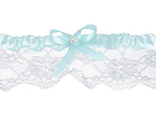 LoBeSo Strumpfband Chiffon in weiß mit kleiner Schleife in hellem blau aus Satin und einer weißen...