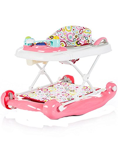 Chipolino 3 in 1 Baby Walker, Pink, Lilly Chipolino The fabric on the base easily detached and you can use it as a baby walker May be used as a cradle - base transforms into rocker Colourful tray with toys and musical panel to entertain the baby, the tray toy can also be detached and used separately 2