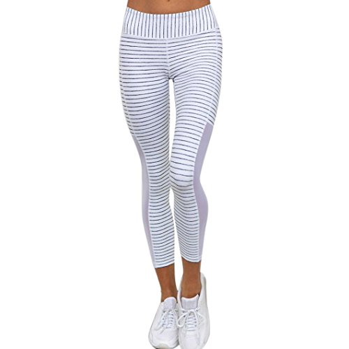 Womens Sport Yoga Pants High Waist - Quick-Drying Striped Mesh Splicing Yoga Pants - Power Stretch Workout Tights Gym Yoga Running Fitness Leggings Pants Athletic Trouser