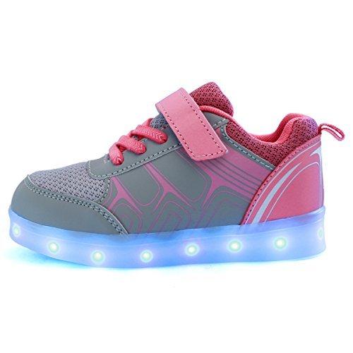 DoGeek Unisex Bambino Scarpe con Luci Scarpe LED Luminosi Sneakers con Luce nella Suola Bright Tennis Shoes USB 7 Colori Lampeggiante Trainners