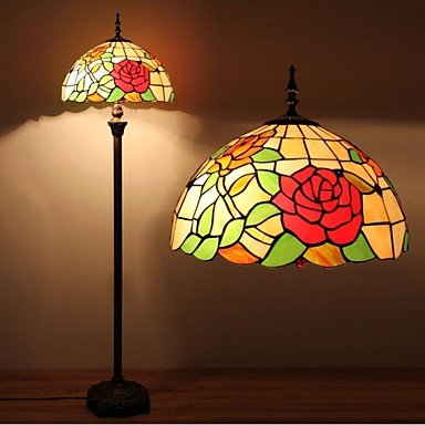 dee Rose Tiffany Lamp With Stained Glass and Glass Beads