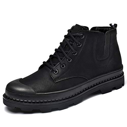 Herren High Boot Tops (YAN Fall Herren Lederschuhe Martin Boots Business-Plattform Schuhe Spitze High-Top-Deck-Schuhe Lässig/Täglich Wanderschuhe,A,40)
