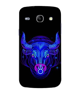 PrintVisa Designer Back Case Cover for Samsung Galaxy Core I8260 :: Samsung Galaxy Core Duos I8262 (Flashy Bull In Cool Blue Design)