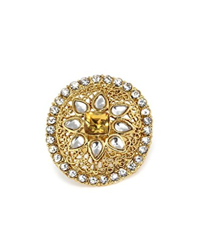 Bindhani Traditional & Ethnic Gold Plated Kundan Finger Ring For Women (Adjustable, Golden)  available at amazon for Rs.186