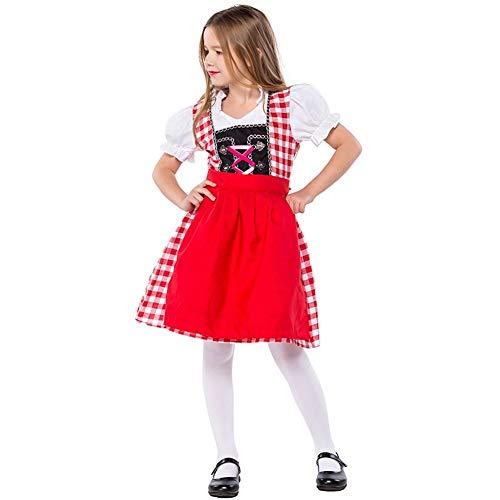 Deutsches Bier Kostüm Festival - Kind Oktoberfest Bier Mädchen Dirndl Kostüm Deutsch Bayrischen Kleid Rollenspiel Rock (122/128)