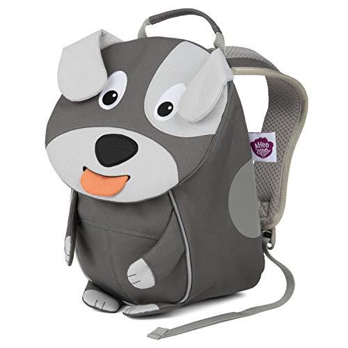 Affenzahn Kinderrucksack mit Brustgurt Hugo Hund für 1-3 Jährige Jungen und Mädchen im Kindergarten oder Kita - Grau