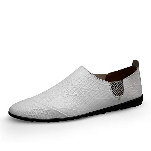 S-Fang Penny Herren Schuhe, Sommerschuhe, für Herren, Casual, Bootsschuh, Slipper auf Echtleder, elastische Bänder, rutschfeste Außensohle, atmungsaktiv, langlebig, Weiß - weiß - Größe: 39 EU - Größe Mädchen Western-stiefel 13