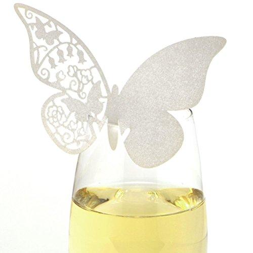 VORCOOL 50stk Hochzeit Escort Namensschildes - Schmetterling Stil Tisch Papier Karte Weinglas Tischkarte für Hochzeit Party Dekoration