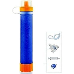 GEERTOP Diercon Filtro Acqua Portatile (66 g) - 1500L 0.01 Micron - per Sport Esterni Campeggio Trekking (BPA Free) (Blu)