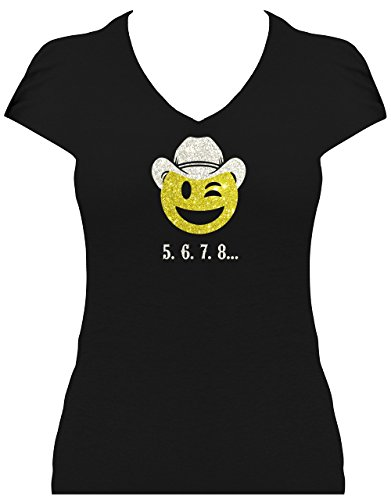 elegantes Shirt Damen Western Emoji Cowboy mit 5, 6, 7, 8... Schriftzug Line Dance T-Shirt mit Glitzeraufdruck , T-Shirt, Grösse L, Druck silber Glitzer