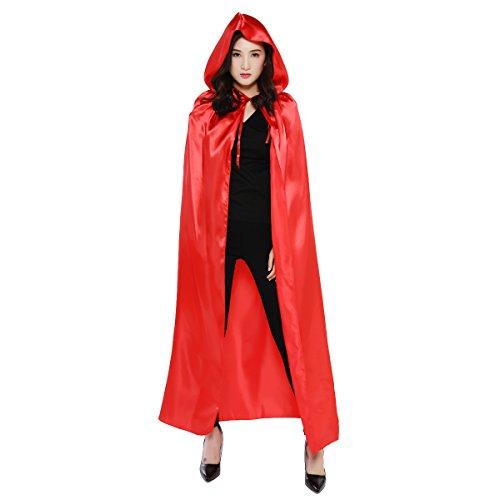 (Damen Herren Halloween Umhang Karneval Fasching Kostüm Cape mit Kapuze Rot)