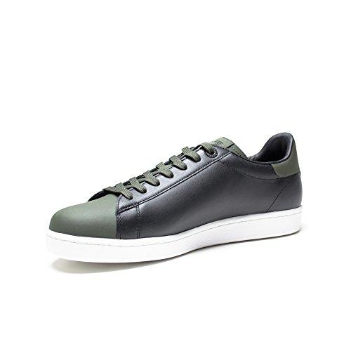 Emporio Armani EA7 chaussures baskets sneakers homme en cuir noir Noir