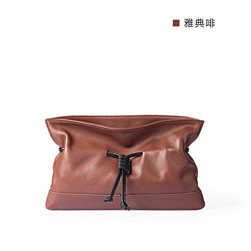 Simple et original nouveau cuir sacs à main sacs d'embrayage simple enveloppe Athens gray