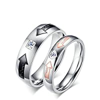 Onefeart Women Stainless Steel Rings Mens Wedding Band,Arrow White Cubic Zirconia 4MM Size V 1/2 Black