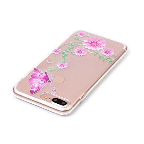 iPhone 8 Plus Hülle,iPhone 7 Plus Hülle,Schutzhülle iPhone 8 / iPhone 7 Plus Silikon Hülle,ikasus® TPU Silikon Schutzhülle Case Hülle für iPhone 8 Plus / 7 Plus,Durchsichtig mit Blumen Rebe Schmetterl Rosa Blumen Schmetterling