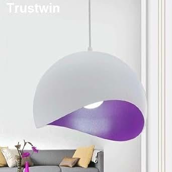 Bianco Rotondo Di Metallo Per Interni Decorazione Ciondolo Vintage Loft Luce Apparecchio Di Illuminazione Lampadario,Viola