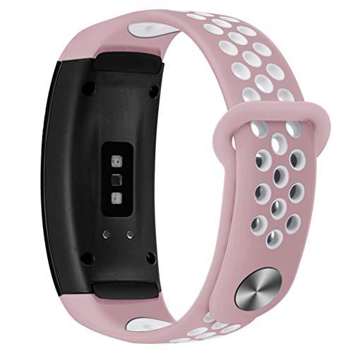 HappyTop Samsung Gear Fit 2 / Fit2 Pro Silikon Unisex Armband Ersatz Uhrenarmband Sport Band Freiraum Kinder & Erwachsene, Unisex, Rosa/Weiß -