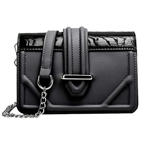HYSGM Damen Fashion PU Leder Tasche mit Kette Schultertasche Handy Geldbörse Messenger Bag Reißverschluss, Schwarz (schwarz), Einheitsgröße