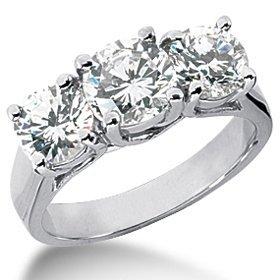Pompeii3 Inc. 2.50CT Three Stone Diamond Engagement White Gold Ring