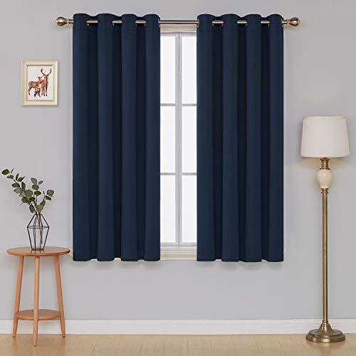 Deconovo tende oscuranti termiche isolanti con occhielli tende da sole per casa moderna 100% poliestere 140x180 cm blu navy 2 pannelli