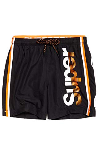 Superdry Herren State Volley Swim SHO Shorts, Schwarz (Black 02A), M