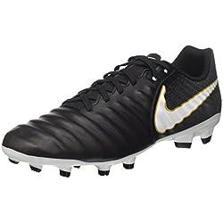 Nike Tiempo Ligera IV FG, Scarpe da Calcio Uomo, Nero (Black/White-Black-Metallic Vivid Gold), 41 EU
