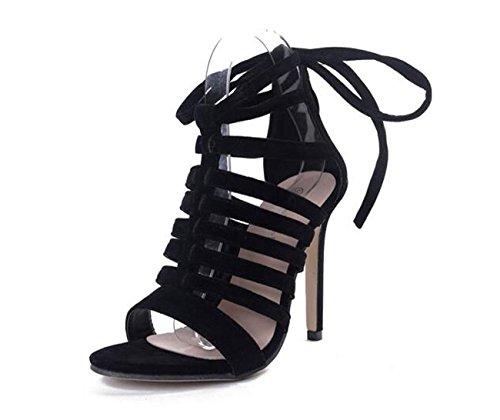 PBXP OL Scrub Sandalen Knöchel Krawatten Frauen Stiletto Ferse Open Toe Wölbung Casual Schuhe 35-40 Black