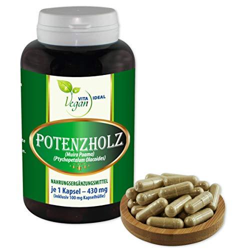 VITAIDEAL VEGAN® Potenzholz (Muira puama) 60 Kapseln je 430mg, rein natürlich ohne Zusatzstoffe.