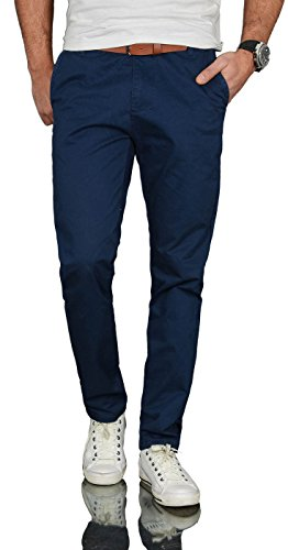 A. Salvarini Herren Designer Business Chino Hose Chinohose Regular Fit AS-095 [AS-095 - Dunkelblau - W33 L32] Casual-china