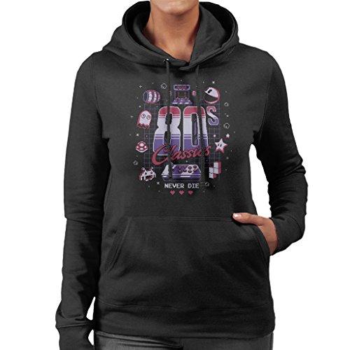 Cloud City 7 Eighties Gamer Classics Never Die Women's Hooded Sweatshirt