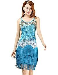 YiJee Salsa Tango Flamenco Baile Latino Elegante Lentejuelas Borla Vestido 4105b372037