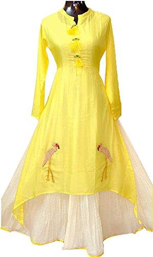 Fkart Festival Mega Sale Offer Cotton Yellow Embroidered Stitched Stylish Kurti With Lehenga