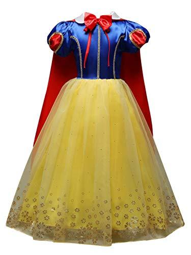FStory&Winyee Mädchen Prinzessin Schneewittchen Kleid mit Umhang Kinder Smowwhite Cosplay Tutu Kostüm Tüll Karneval Verkleidung Party Weihnachten Faschingkostüm für Mädchen (Snow Princess Mädchen Kostüm)