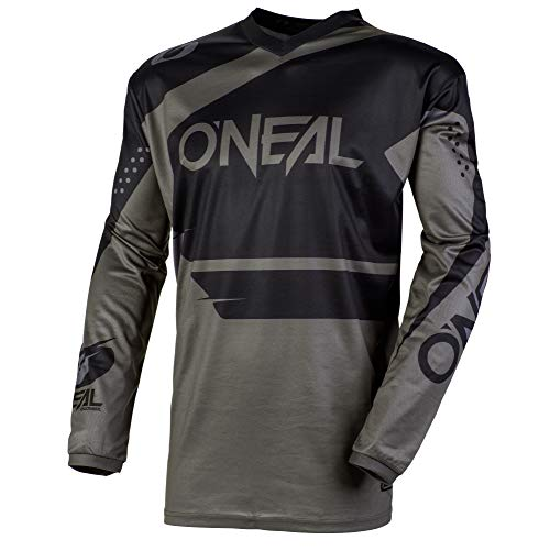 O'Neal Element Racewear Jersey Moto Cross MTB MX Mountain Bike Trikot Langarm Shirt Leicht Offroad, E001, Farbe Schwarz Grau, Größe XL