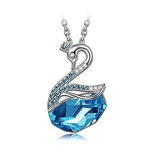 Lady colour Cigno Collana donna con cristalli da Swarovski Gioielli blu regalo donna compleanno festa della mamma regalo san valentino regalo natale regali per lei amica anniversario moglie figlia