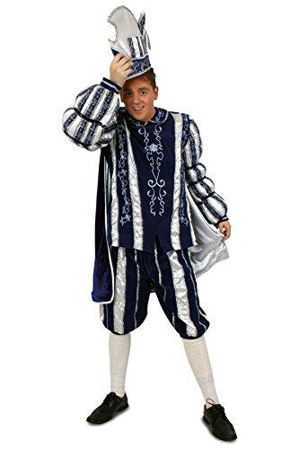 Prinzenkostüm blau weiß silber Einheitsgröße Gr. 50 bis 60 (52) (Prinz Kostüm Männer)