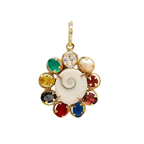 Shree Shyam Synthetic Navratna Gomti Chakra Pendant/Locket For Men And Women