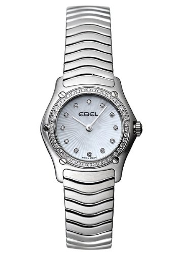 Ebel Classic Wave White Mother-of-Pearl Dial Stainless Steel Diamond Ladies Watch 9157F16-9925