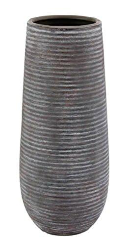 Vase Blumenvase Keramik grau strukturiert 30,5 cm hoch - hochwertig