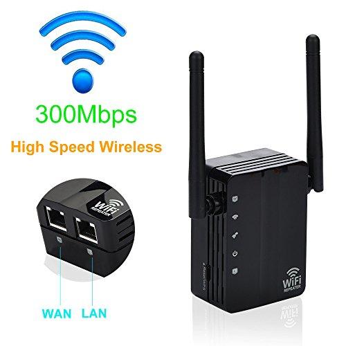 WiFi Repeater,300Mbps Wireless N Range Extender Wifi Repeater Signal Booster Netzwerk Router (Schwarz) -