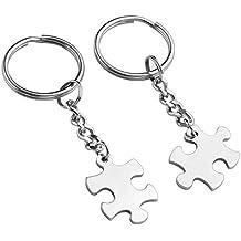 PiercingJ - 2PCS Porte-Clés Couple Gravure Personnalisée Keychain Pendentif  Puzzle Séparable Amour Amitié Acier 85b9a18de9b