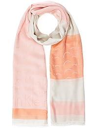 Calvin Klein Logo Degrade Scarf, Pañuelo para Mujer, Blanco (Powder White 102), Talla Única (Talla del Fabricante: OS)