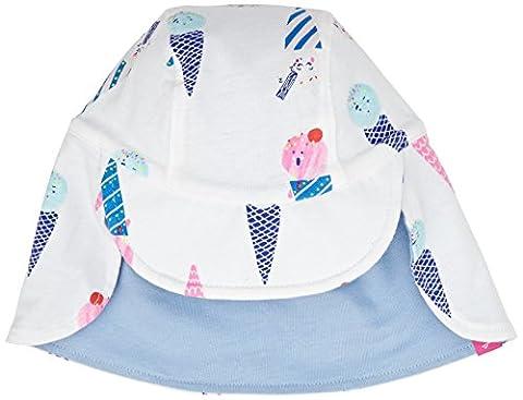 TOM JOULE Baby Mädchen Sonnenhut Weiß Icecream W_BABYSUNNYG Nackenschutz Wendemütze, Off-White (Chalk Ice Cream), (Reversible Sonnenhut)