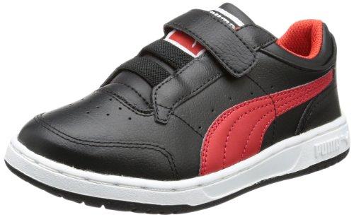 PUMA - Full Court Lo Kids, Scarpa Tecnica unisex Nero (Schwarz (black-high risk red 09))